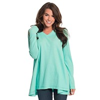 Waffle Knit V-Neck in Aqua Sky by The Southern Shirt Co.