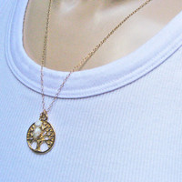 Family Tree Necklace, 14k Gold Fill, Tree Of Life Pendant, Layering Necklace, White Freshwater Pearl, Delicate Jewelry, Mother's Gift