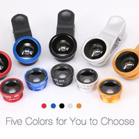 3in 1 Clip-on Cell Phone Camera Special Effects Wide Macro Fish eye Lens For iphone