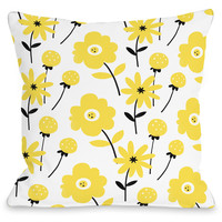 """Floral Yellow"" Outdoor Throw Pillow by Julissa Mora, 16""x16"""