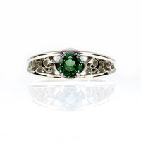 Green tourmaline engagement ring, filigree, solitaire, white gold, yellow gold, wedding ring, tourmaline engagement, Green, anniversary