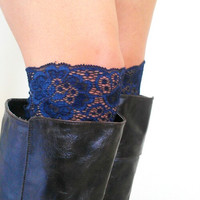 Navy blue floral Lace boot cuff accessories