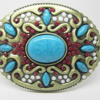 Native American Cowgirl Indian  Turquoise Stone Belt Buckle.    BUY NOW