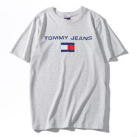 Tommy New Summer Fashion Bust Letter Stripe Print Leisure Couple T-Shirt Top Gray