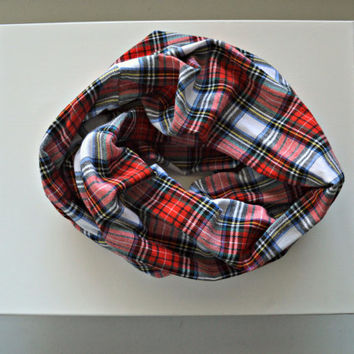 Red Plaid scarf, winter Scarf, Plaid flannel scarf