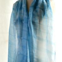 Blue turquoise naturally dyed light silk scarf, hand dyed with natural Indigo, sky blue cerulean aqua shawl