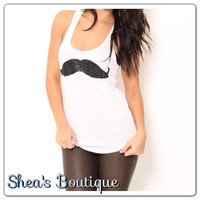 Glitter Mustache Tank Top by SheaBoutique on Etsy