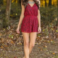 Mistletoe & Kisses Romper-Wine