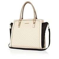 CREAM QUILTED PANELLED TOTE BAG