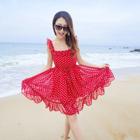Women Backless Dot Square Collar Chiffon Mini Sundress Polka Waist Dress  F_F = 1901885380