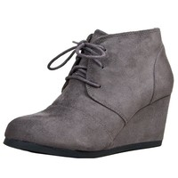 City Classified REX / Qupid OLEE-01 / Nature Breeze WILLOW-01 Designer toms Inspired Stitch Detail Lace up Ankle Bootie Wedge, Charcoal IMSU-rex, 8.5 B(M) US
