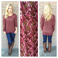 Burgundy & Gold Lightweight Sweater