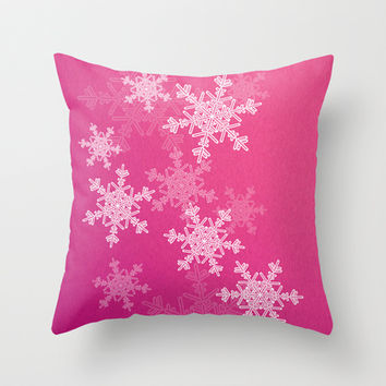 Pink snowflakes Throw Pillow by Silvianna