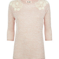 Pink Crochet Shoulder Lightweight Jumper