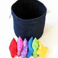 Denim & Black Flannel Bucket Bag with Rainbow Bean Bags (set of 6) Kids Toy Gift Set Red Yellow Blue Green Purple - US Shipping Included
