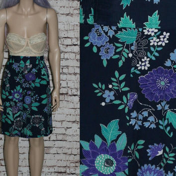 80s High Waist Shorts Skirt Floral Ethnic Navy Blue Rayon Grunge Hipster Witchy Boho Festival X Large 12  Waisted Hi Easy