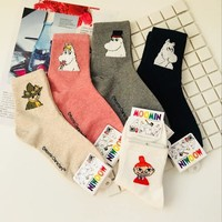 Moomin Series Ladies Autumn Cotton Momine Family Girls Christmas Gift Socks Winter Hipster Pop Socket Cute Foot Cover 2018