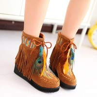 ZLYC Women's Bohemian Tasseled Ankle Boots Short Boots with Feather Detailing