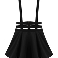 Black High-rise A-line Elastic-straps Dress