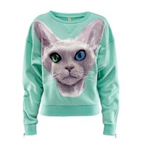 Charming Scoop Neck Cat Pattern Long Sleeve Column Fleece For Women