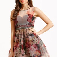 LITTLE MISTRESS FLORAL ORGANZA FIT AND FLARE DRESS