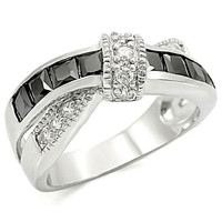 High Polished Stainless Steel Jet Black Cubic Zirconia Anniversary Ring