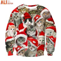 Alisister Many Cats Hoodies Sweatshirt 2018 Christmas 3d Sweatshirts Kitten Print Pullover EUR Size Harajuku Hooded Unisex Tops