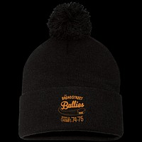 Retro Broad Street Bullies Embroidered Pom Pom Knit Cap