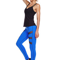Side Plank Mesh Yoga Legging - Sky Blue