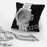 RAONHAZAE 50 CENT SILVER LAB DIAMOND WATCH MIAMI CUBAN CHAIN SX1