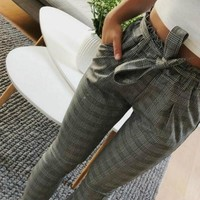 New Plaid High Waist Harem Pants Women Summer Style Ankle-length Pants Female Office Lady White Striped Trousers