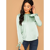Cut Out Front Knot Cuff Satin Blouse