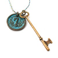 Vintage Skeleton Key and Round Room Number Pendant Necklace in Brass | DOTOLY