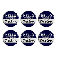 Declan Hello My Name Is Plastic Resin Button Set of 6