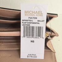NWT Michael Kors Fulton Flap Continental Wallet Leather Ballet / Gold hardware