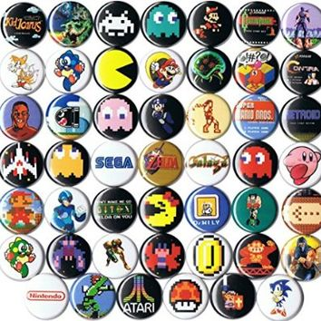 """Huge Wholesale Lot of 48 Classic Video Game 1"""" pins/buttons/badges"""