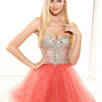 Large Stones Beaded Bust Short Prom Dress By Terani p3007