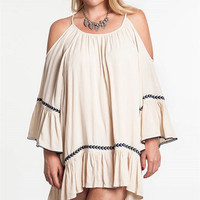 Plus Size Boho Off Shoulder Dress