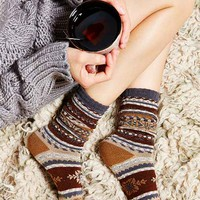 Patterned Boot Sock- Brown Multi One