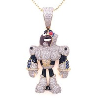 Gold Tone Icy Titans Cyborg Character Bling Custom Pendant