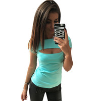 Hot Summer Women T-Shirt O-neck Casual Sexy Female Cut-Out Tee Solid Lady Garment