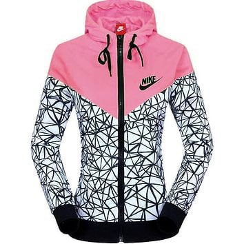 NIKE Women Zip Hooded Sweatshirt Jacket Sport Cardigan Coat Windbreaker