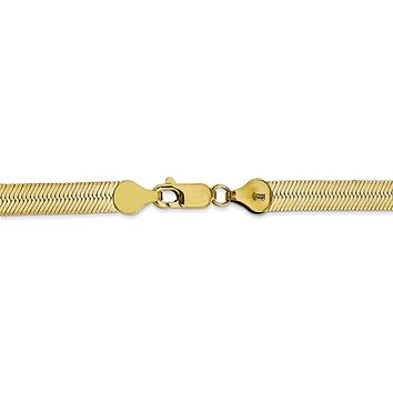 5.5mm 10k Yellow Gold Solid Herringbone Chain Necklace