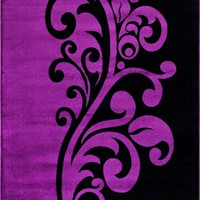 2102 Purple Damask Transitional Area Rugs