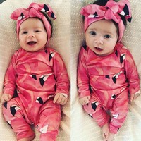 Toddler Newborn Baby Girl Romper Jumpsuit Bodysuit Clothes Headband Outfit Sets