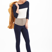 FOREVER 21 Colorblocked Knit Top Navy/Cream