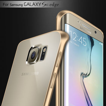 Metal Aluminum Frame and Clear Back Case for Samsung Galaxy S6 Edge G9250