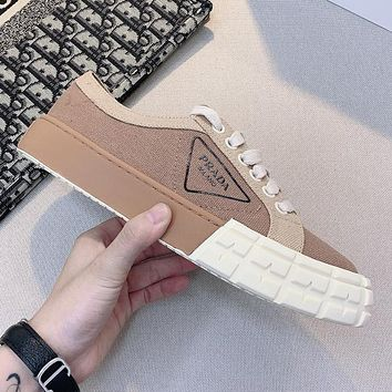 PRADA hot sale stitching color letter printing ladies sneakers casual shoes #5