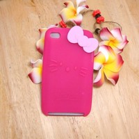 Hello Kitty dark Pink Silicone with bow Cover Case for iPod Touch iTouch 4 4g