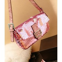 FENDI Popular Women Personality Leather Sequins Shoulder Bag Handbag Crossbody Satchel Pink